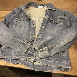 Chico Platinum distressed denim jacket. Sz 0